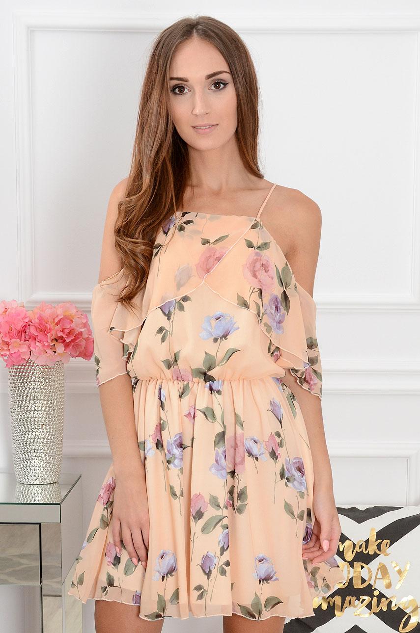Sukienka szyfonowa w kwiaty ciepły beż Ibiza Rozmiar: M
