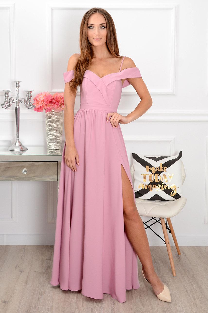 Sukienka maxi szeroki dekolt liliowa Marylin Rozmiar: XS