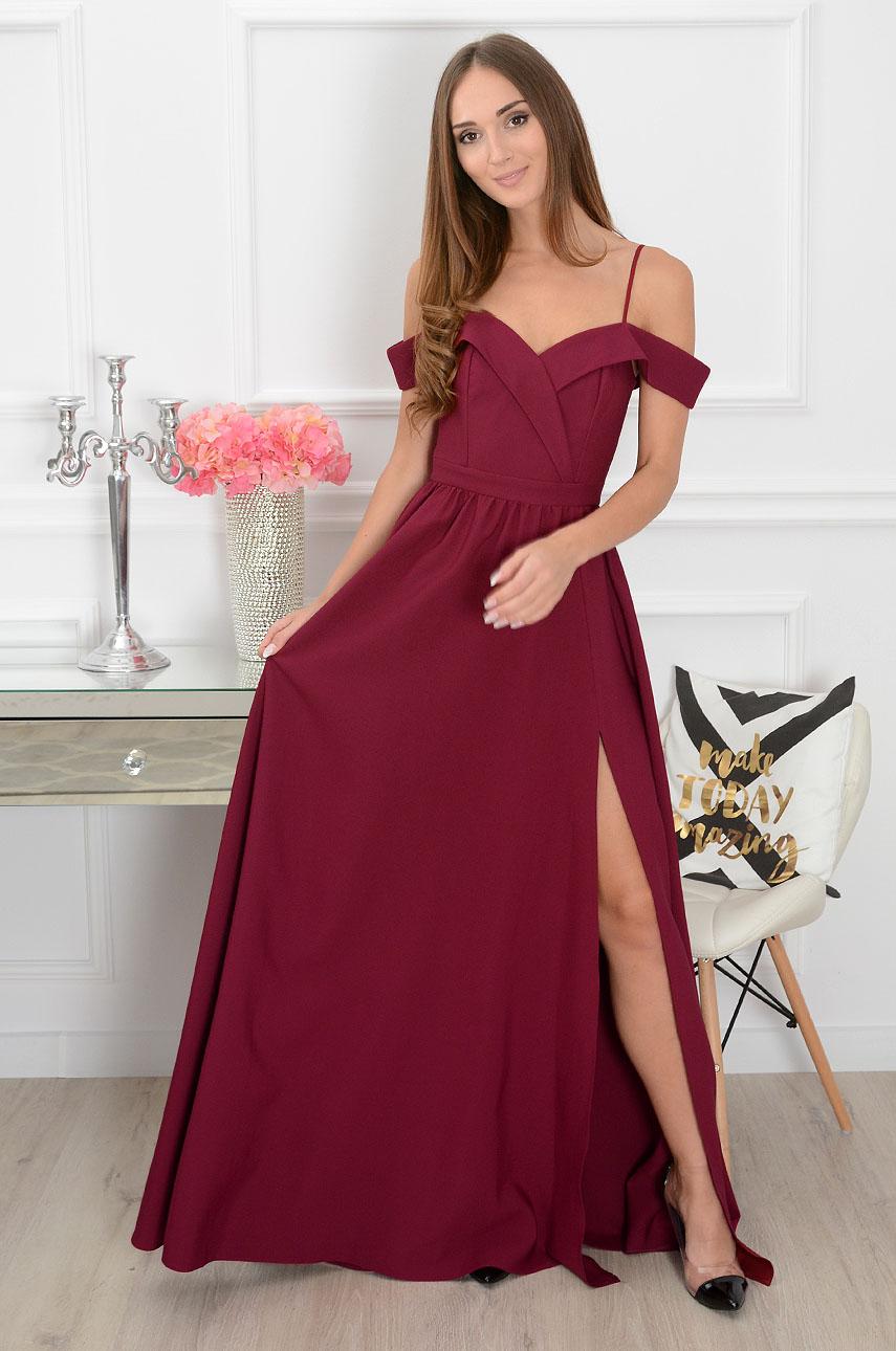 47e2455604 Sukienka maxi szeroki dekolt burgund Sklep internetowy cocomo...