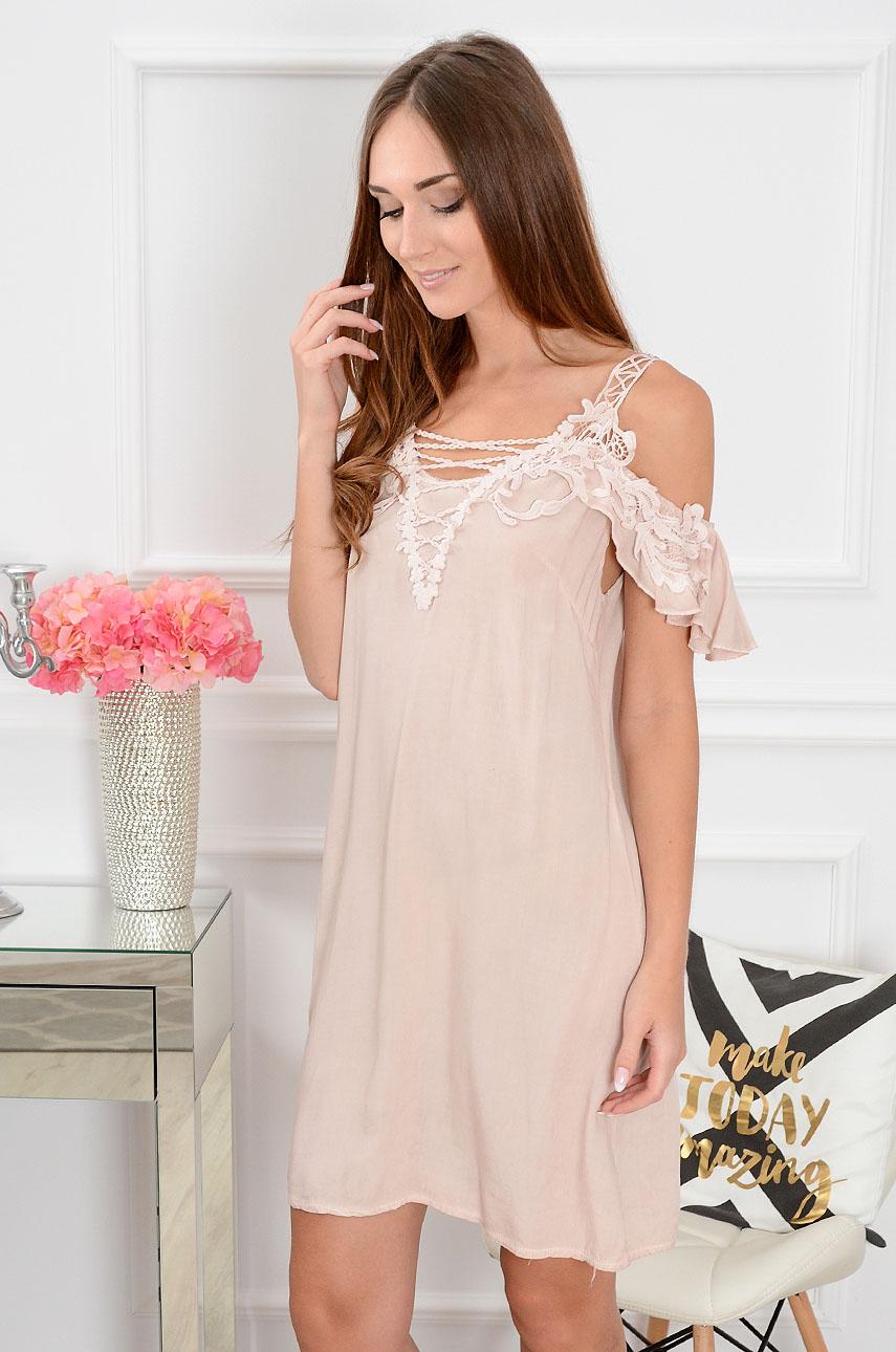 Sukienka gołe ramiona Patricia Sunny pudrowy róż Rozmiar: UNI