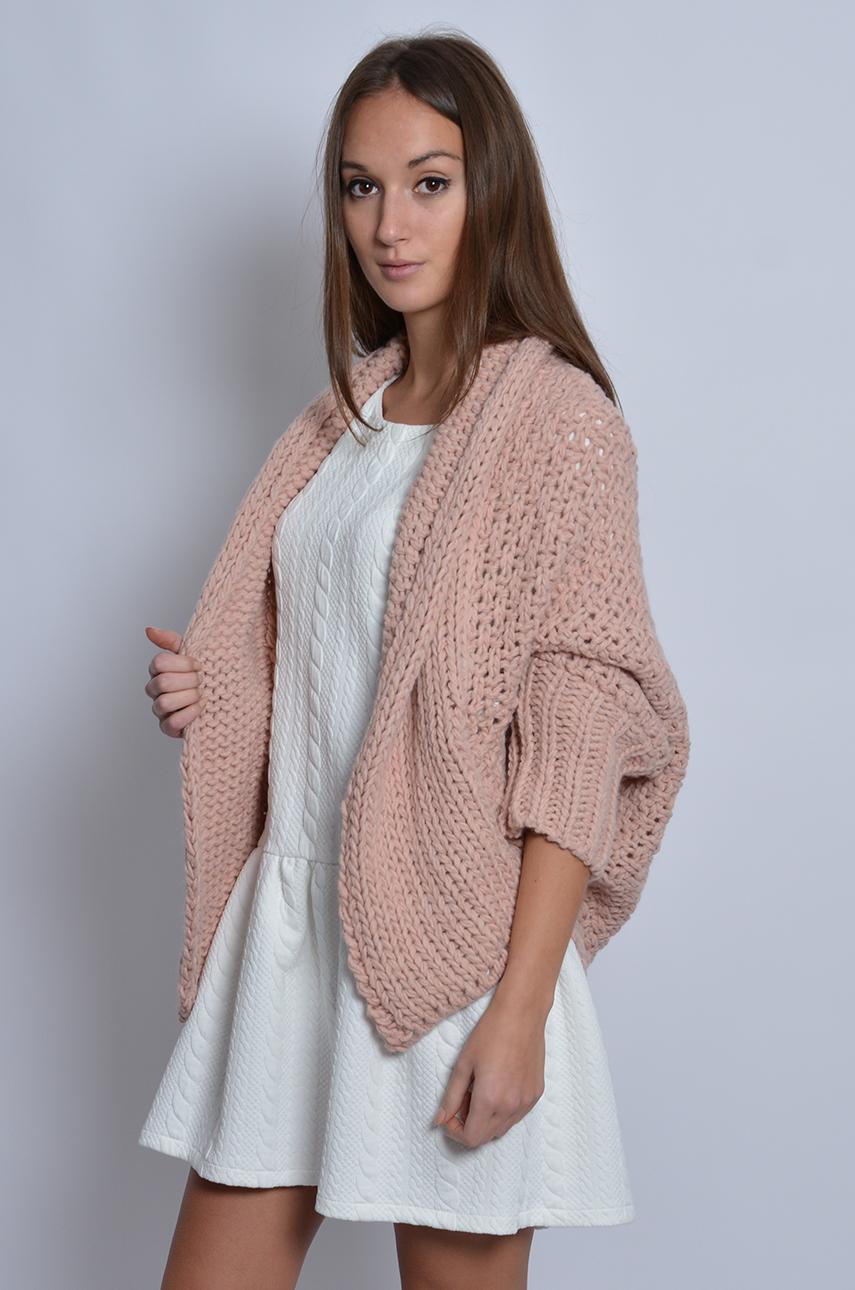 Świeże Gruby sweter kardigan pudrowy róż - Cocomoda.pl - odzież dams... FE95