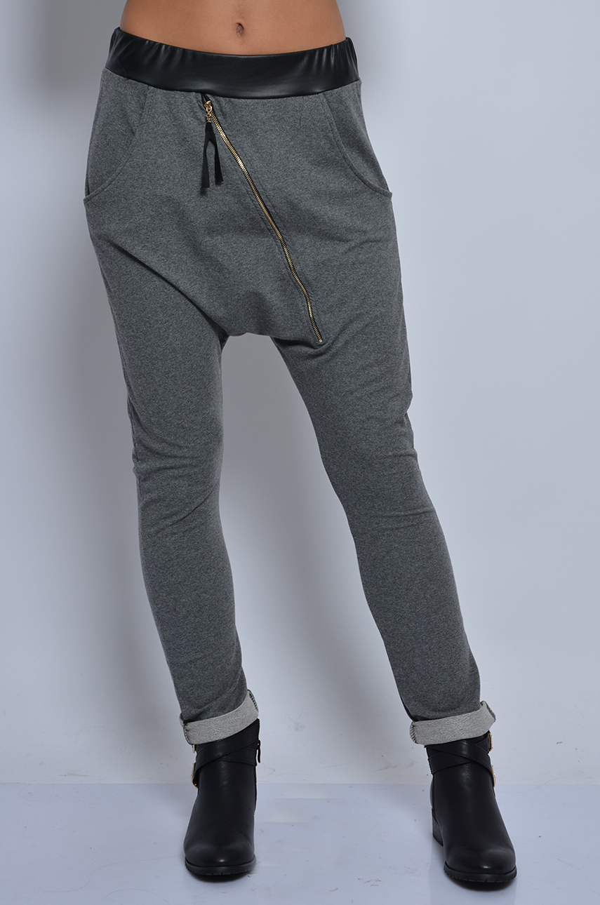 Spodnie dresowe baggy ze skośnym suwakiem grafit