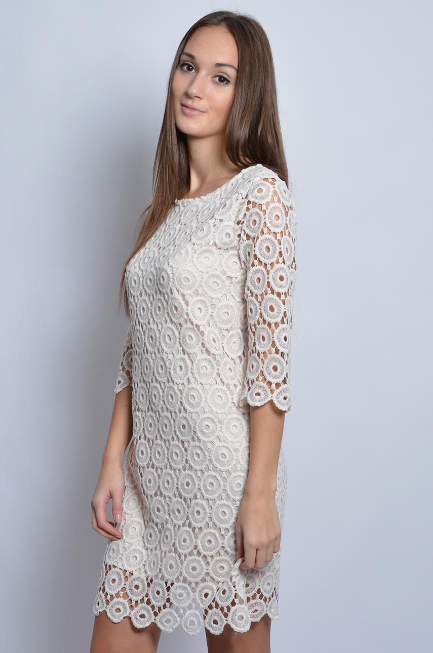 Super Sukienka z grubej koronki w kółka kremowa - Cocomoda.pl - odz FQ-75