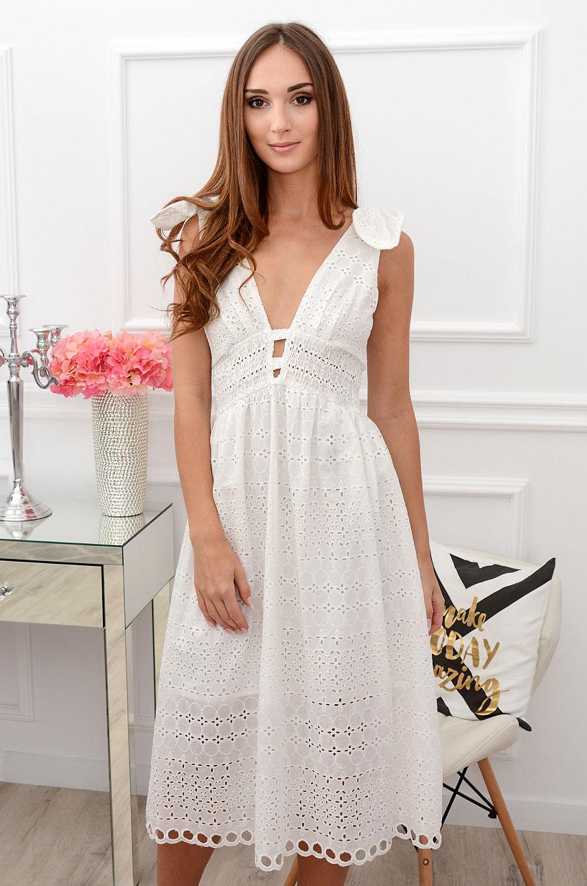 Sukienka midi boho haftowana biała Altamira Rozmiar: M
