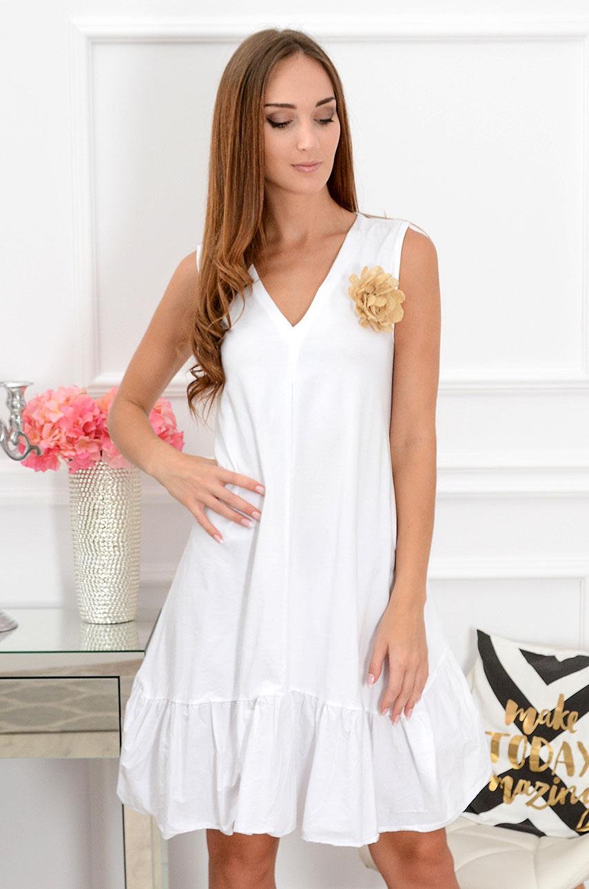 Sukienka oversize z kwiatem Belisima biała