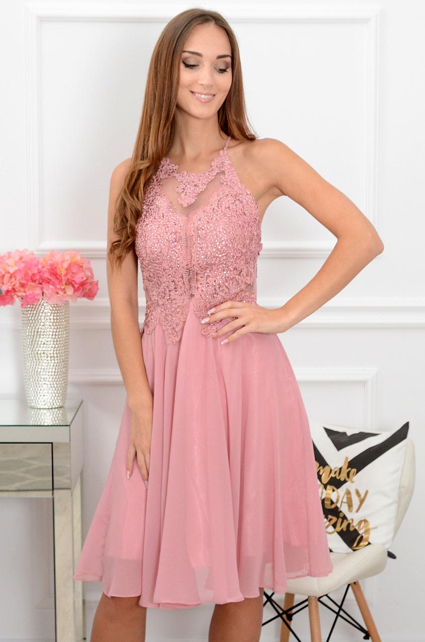 Sukienka z cyrkoniami retro róż Mercedes Rozmiar: M