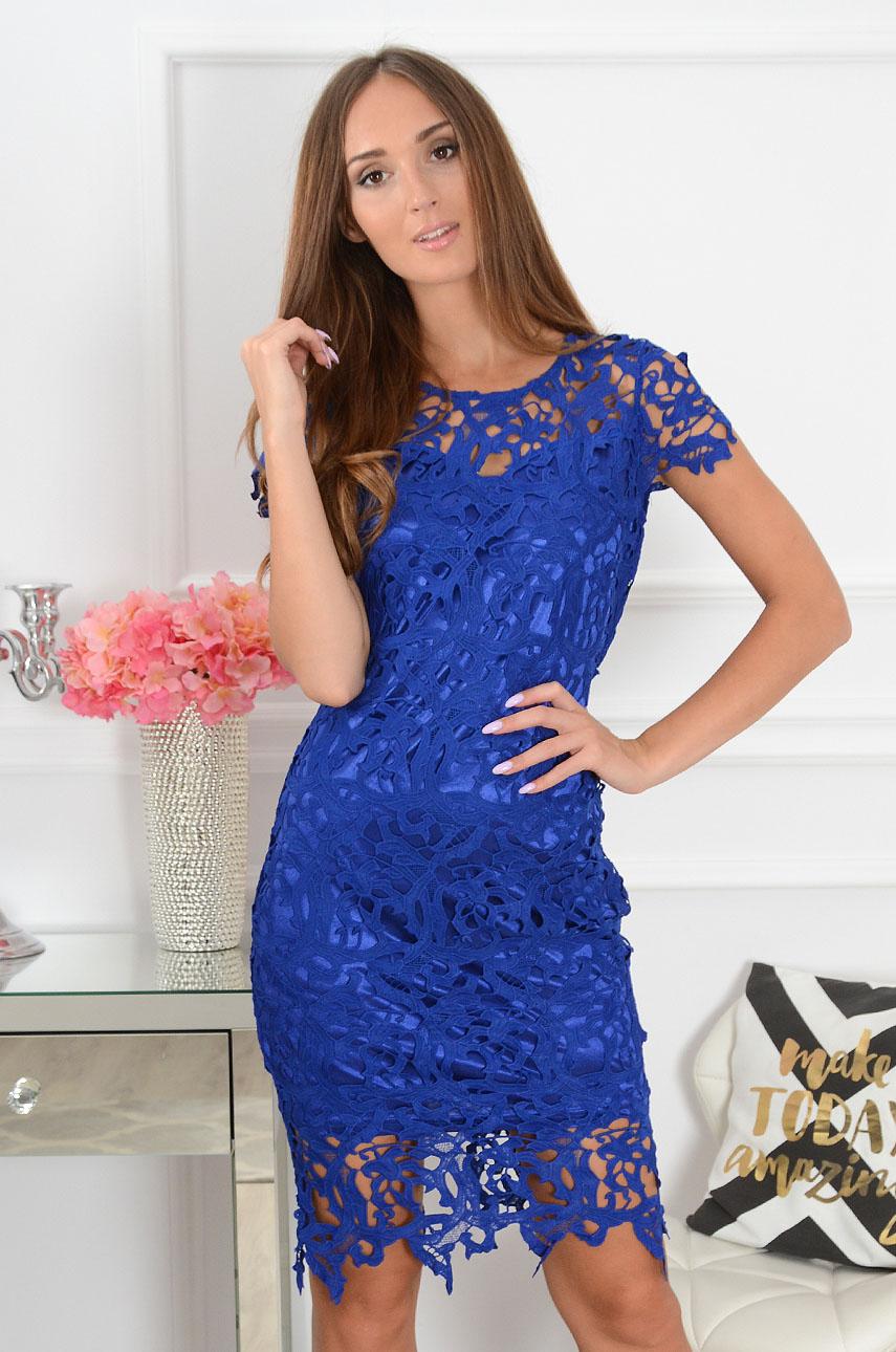 Sukienka koronkowa midi kobalt Sattin Rozmiar: M