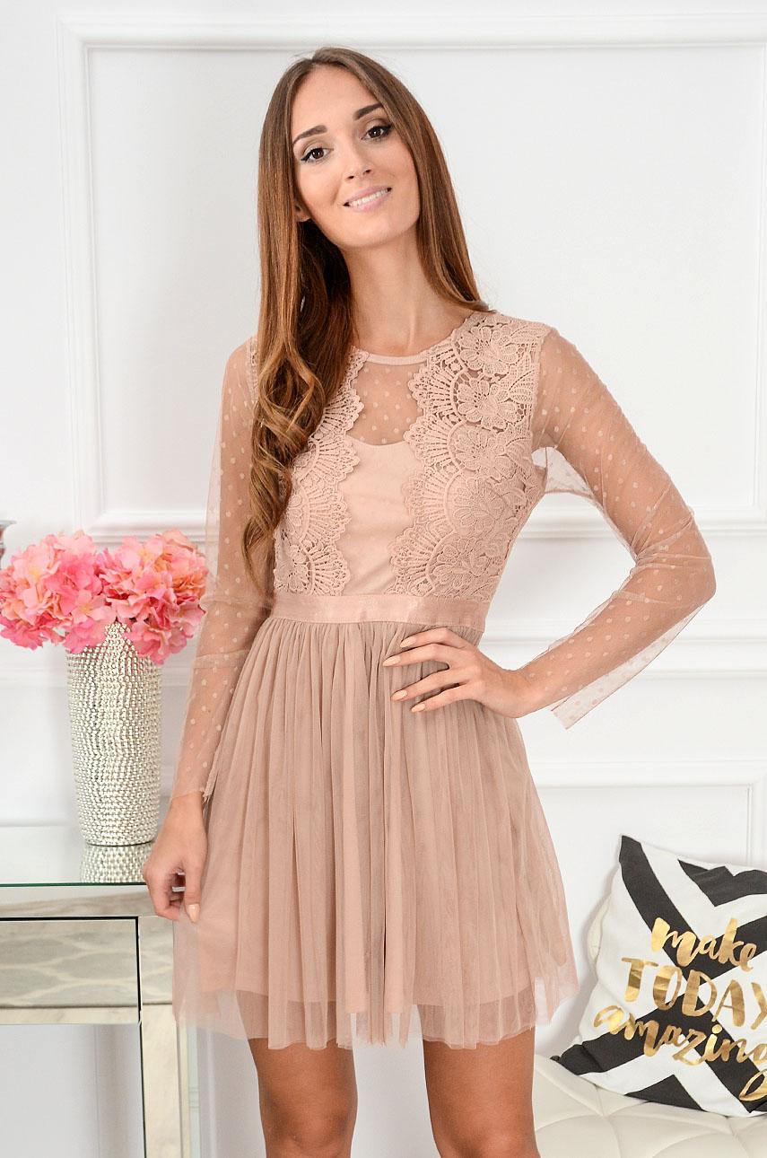 27ffb9f62e Sukienka z koronki i tiulu Nixie brudny róż długi rękaw