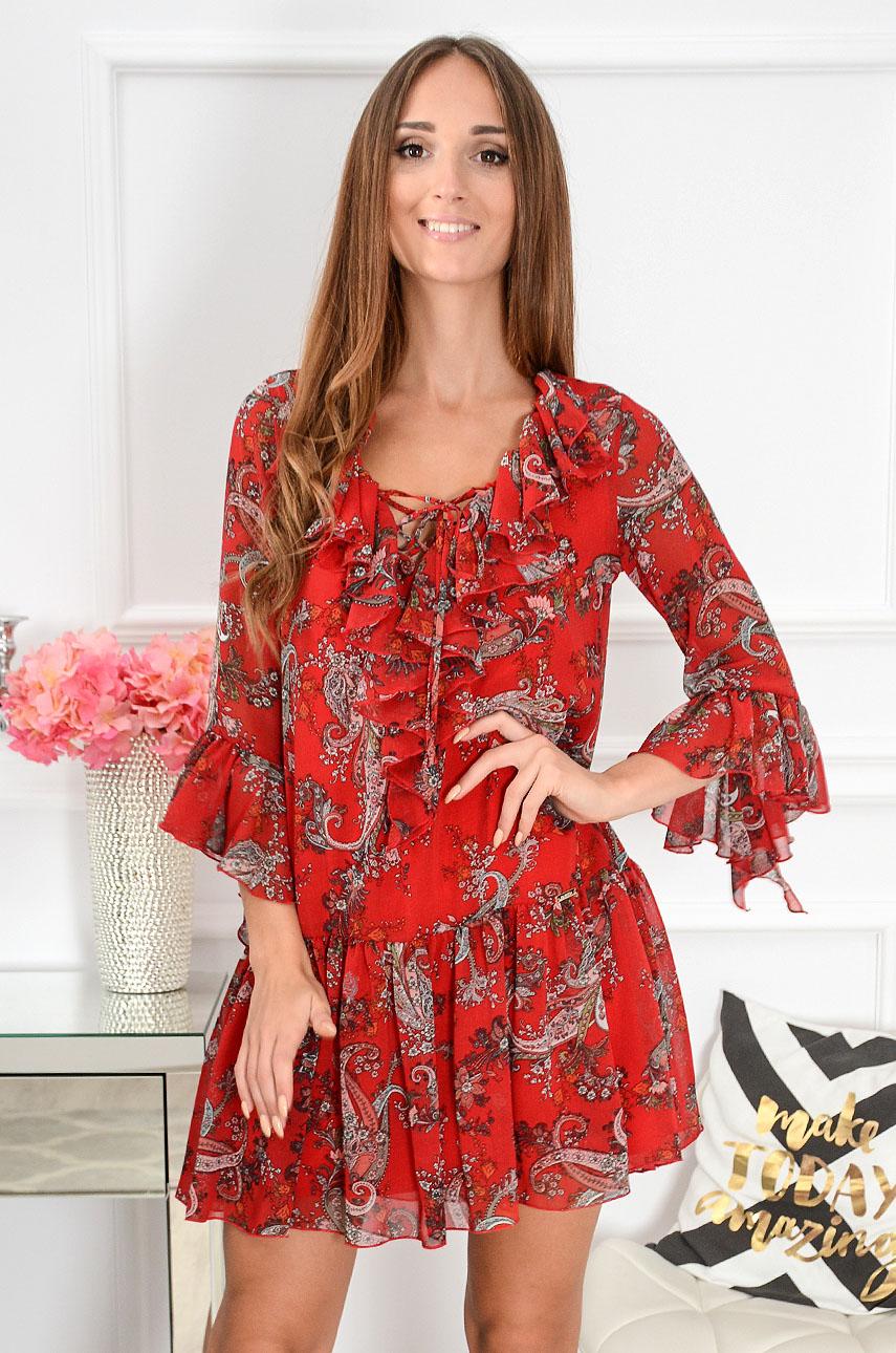 Sukienka szyfonowa Florida w etno wzory czerwona