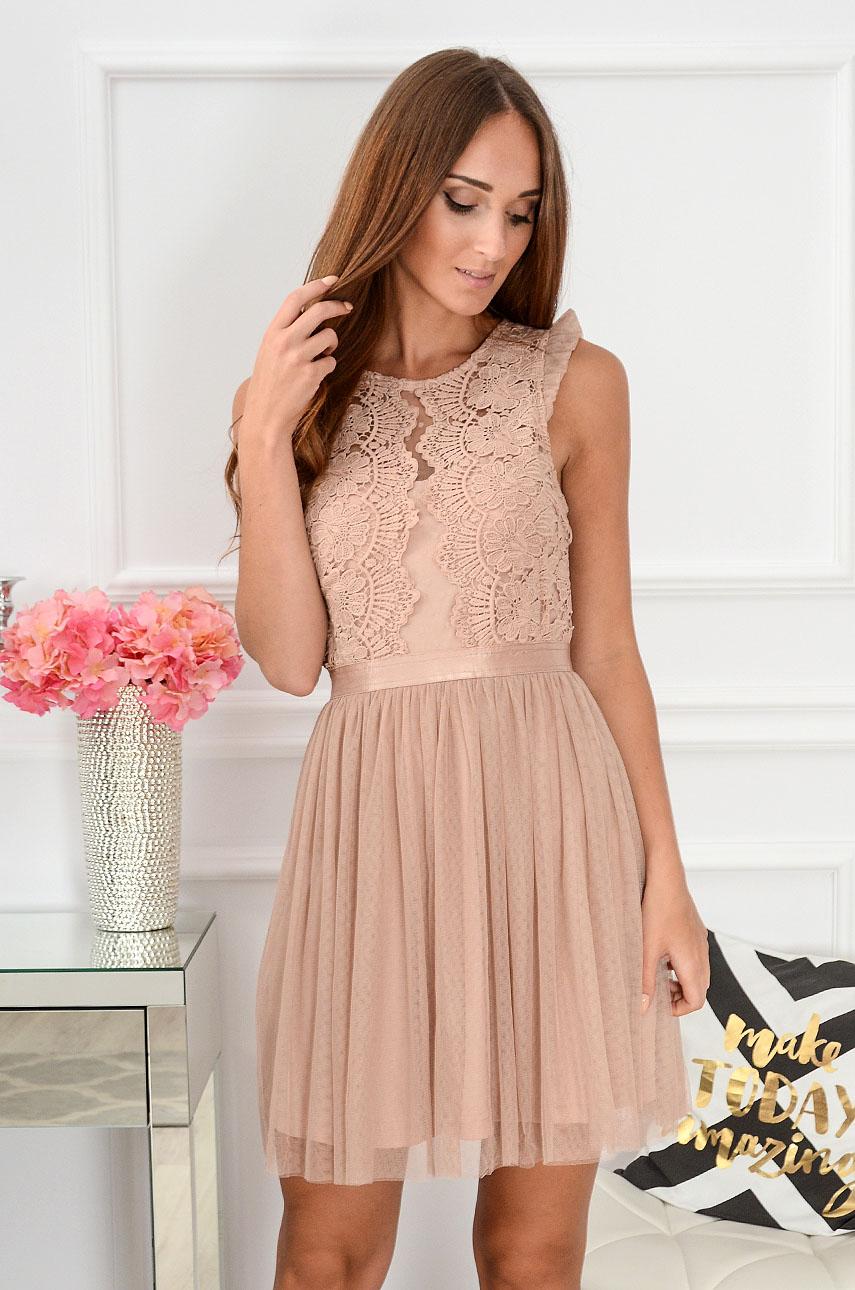 Sukienka z koronki i tiulu Nixie brudny róż Rozmiar: S