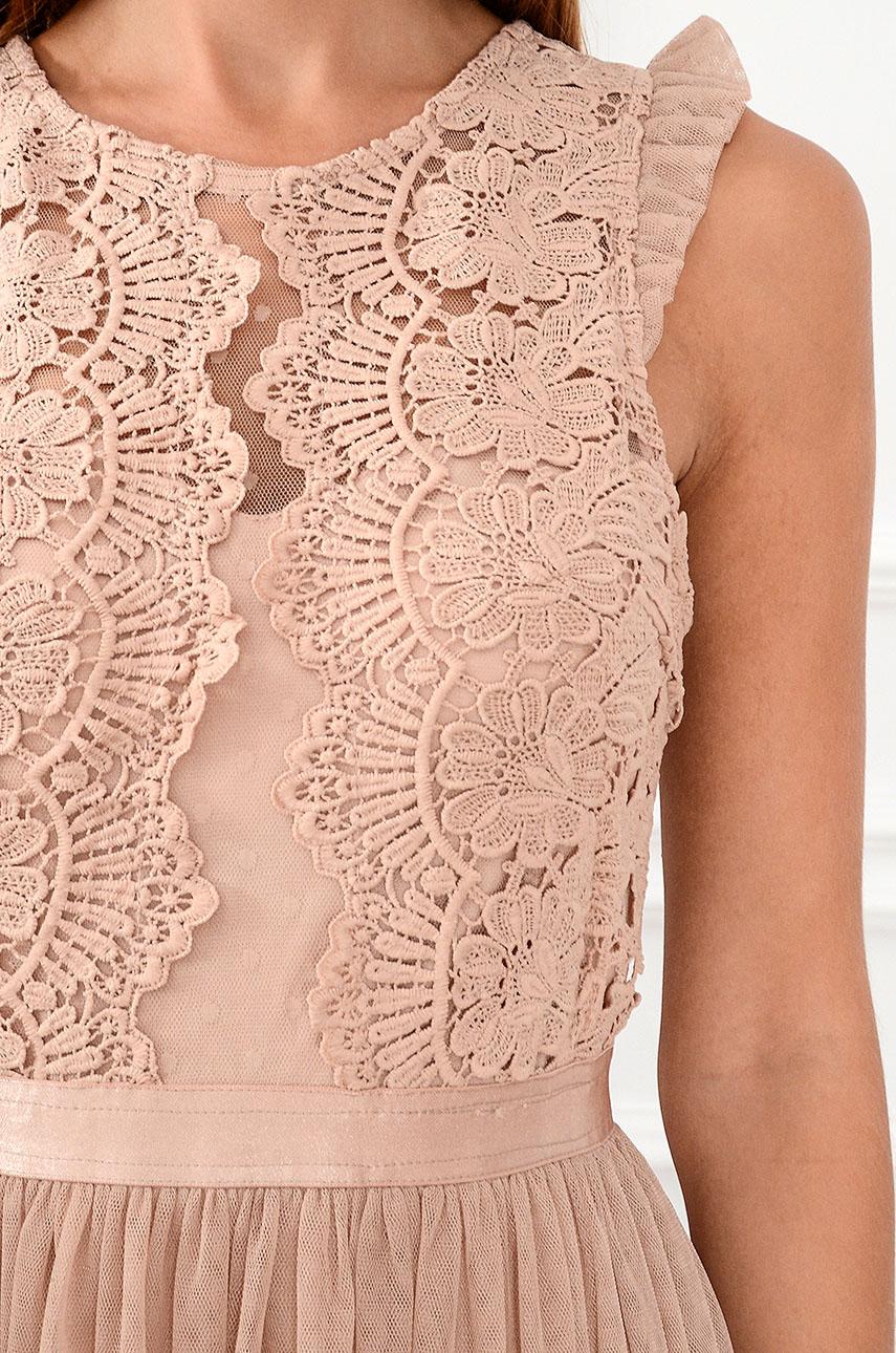 d602756702 Sukienka z koronki i tiulu Nixie brudny róż S