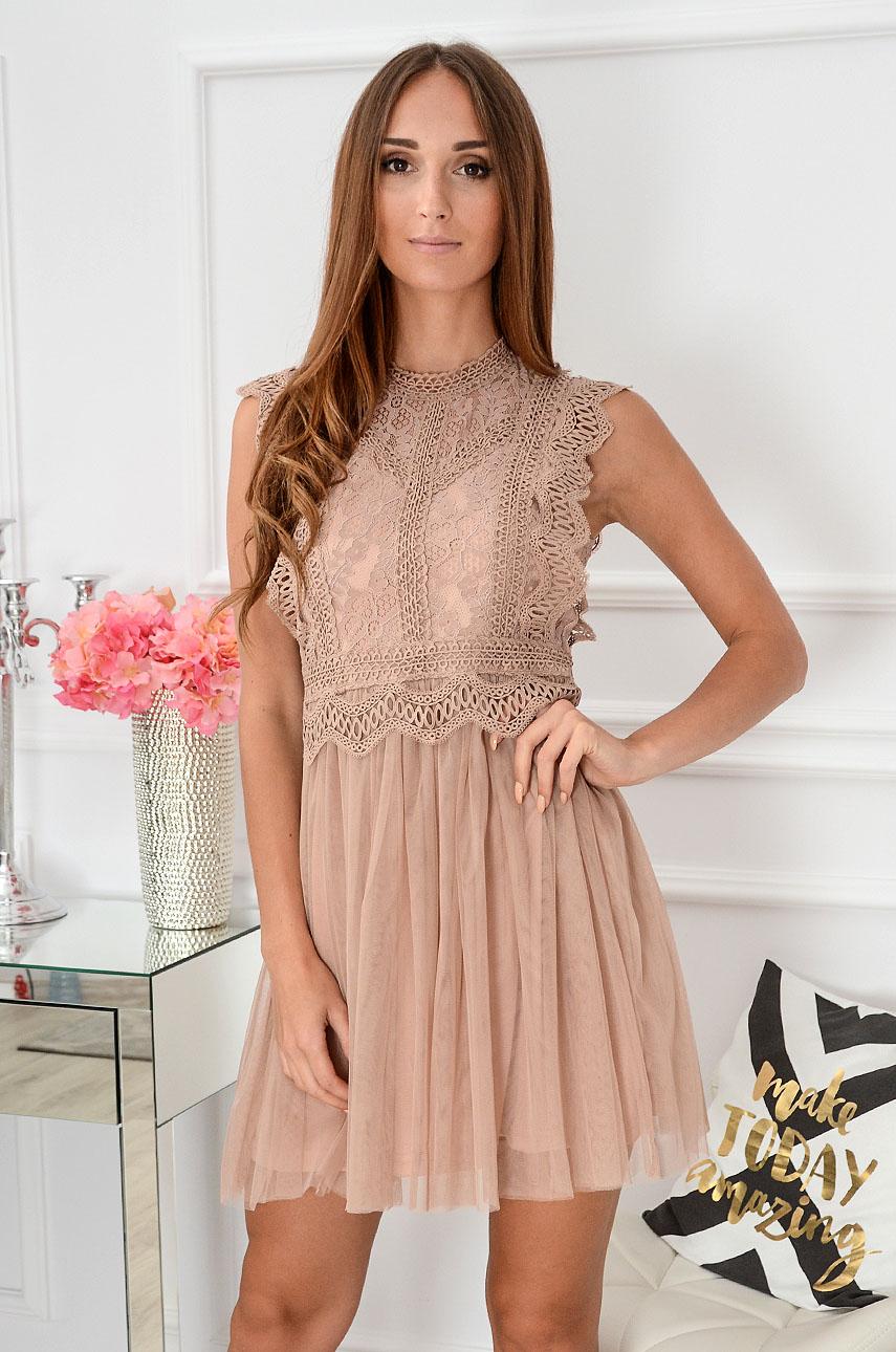 Sukienka z koronki i tiulu Passion brudny róż Rozmiar: M