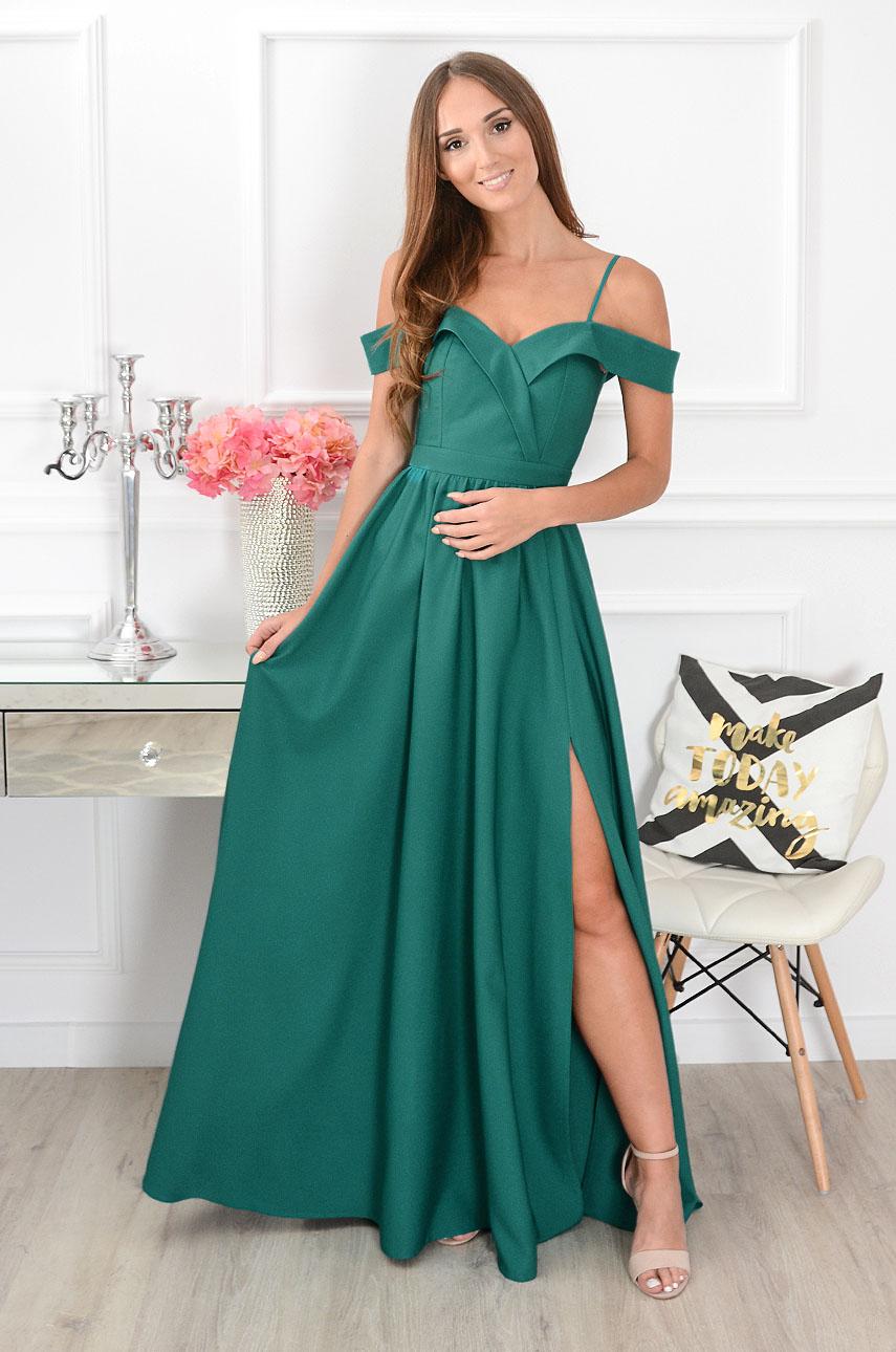 3969ace837 Sukienka maxi szeroki dekolt zielona Sklep internetowy cocomo...