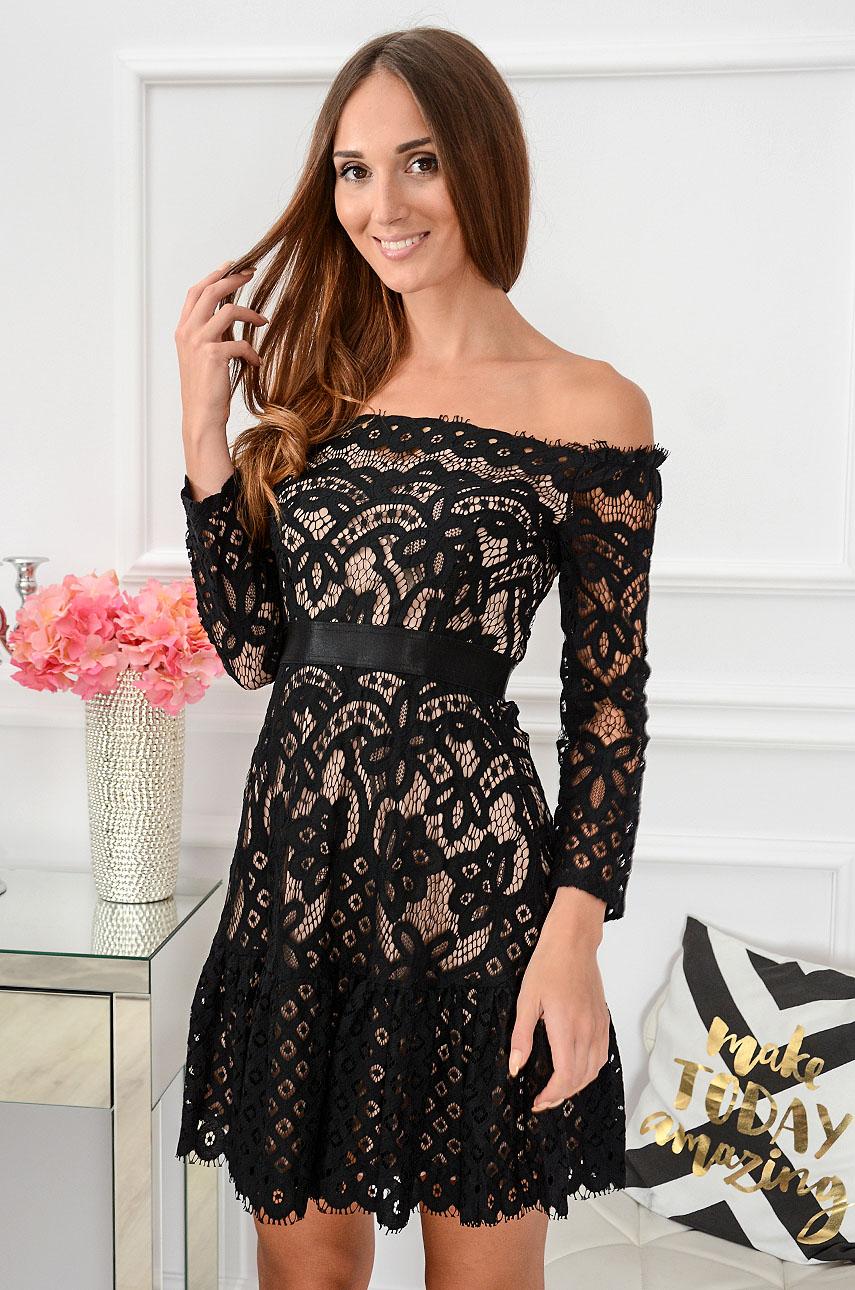Sukienka koronkowa hiszpanka Luna czarno-beżowa Rozmiar: S