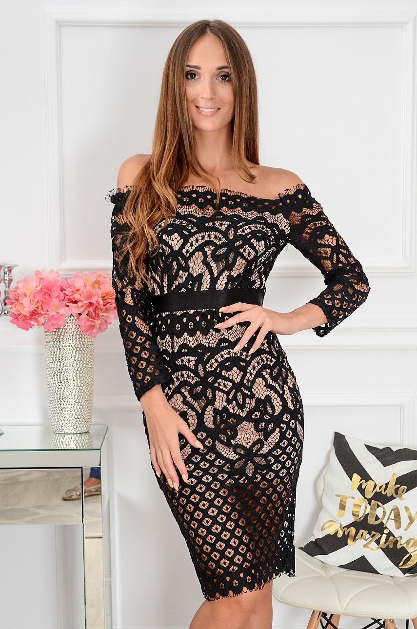 Sukienka koronkowa hiszpanka Brandy czarno-beżowa Rozmiar: S