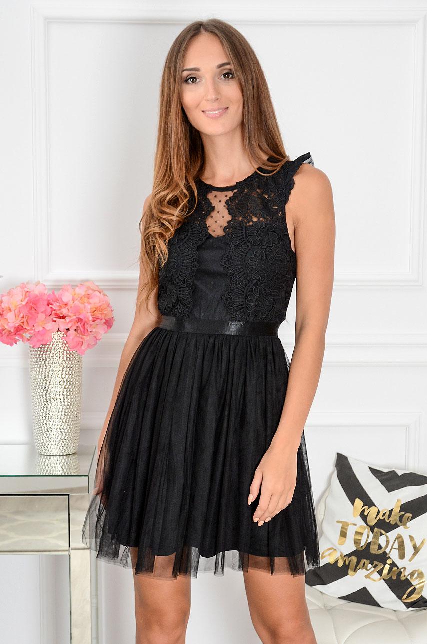 a2fd406982 Sukienka z koronki i tiulu Nixie czarna