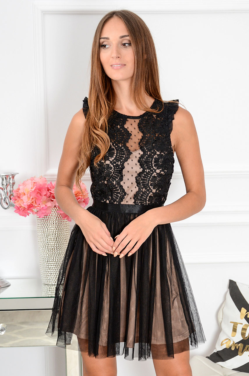 411fd9a48c Sukienka z koronki i tiulu Nixie czarno-beżowa