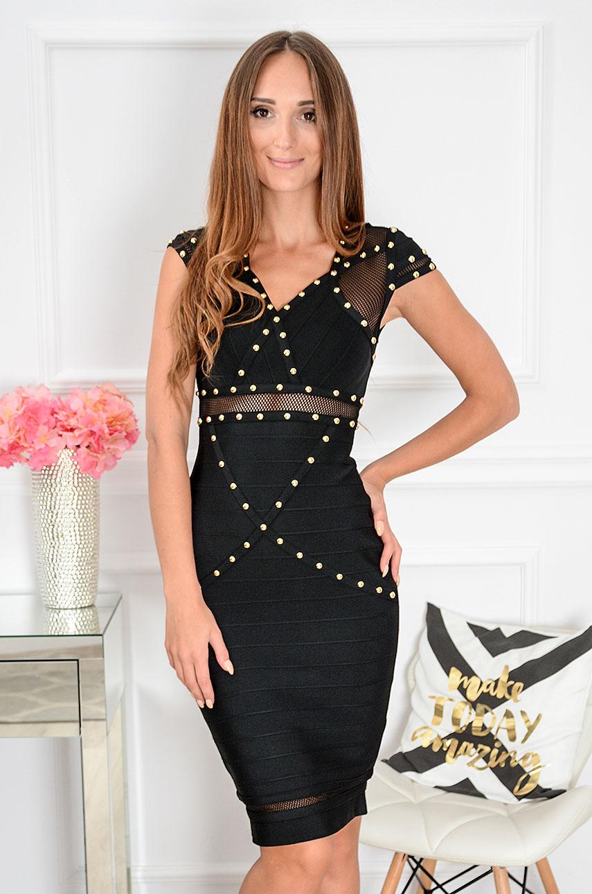 03a24d514f Sukienka bandażowa z ćwiekami Exteria czarna