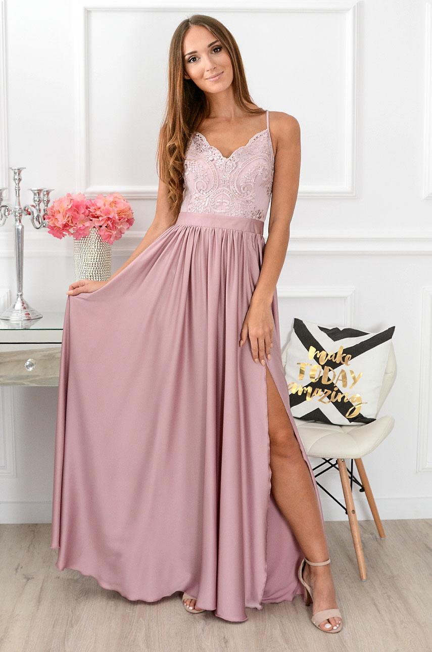 Sukienka maxi z gipiurą pudrowy róż Justina
