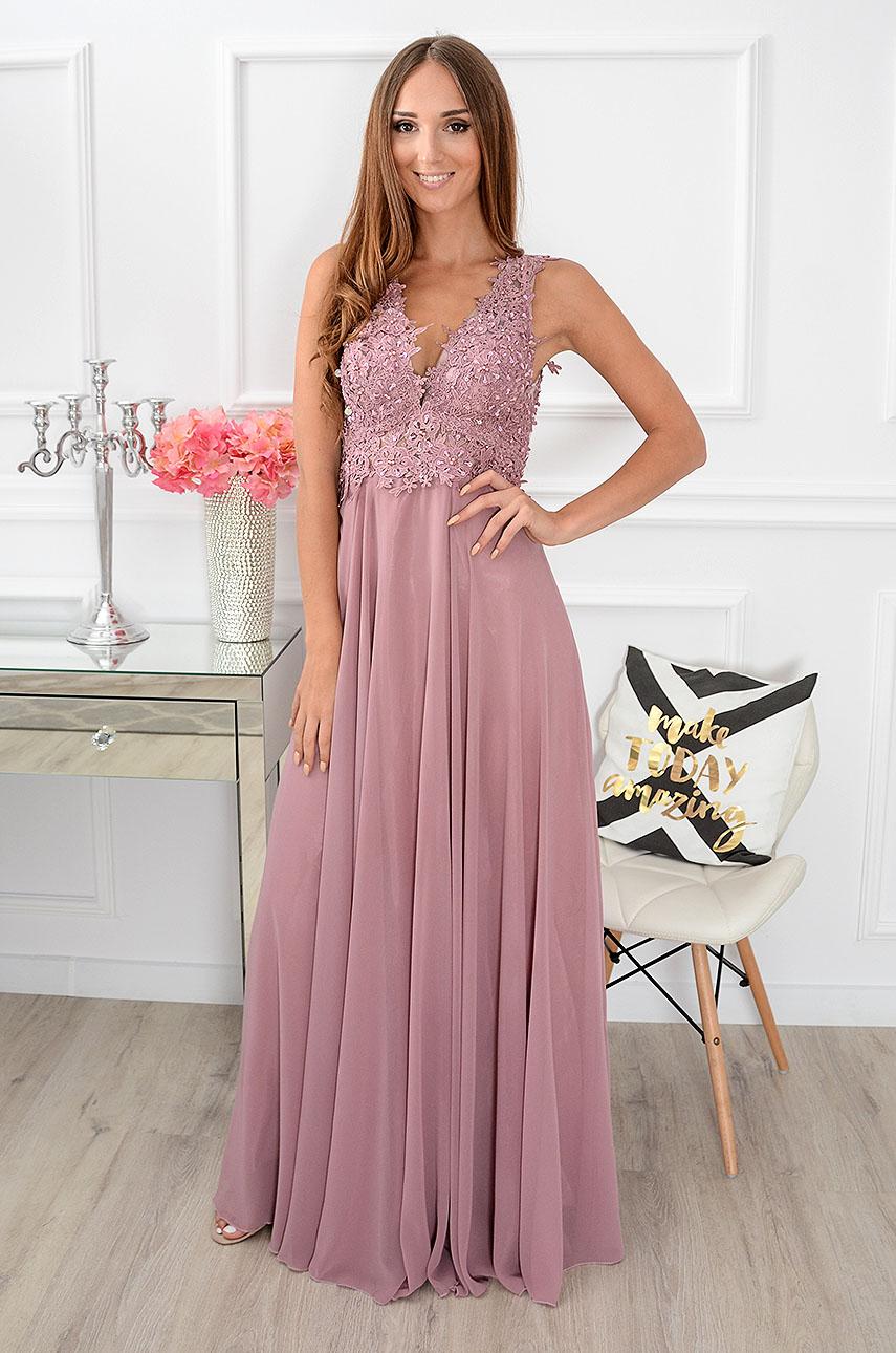 Sukienka maxi Castelia z gipiurą brudny róż