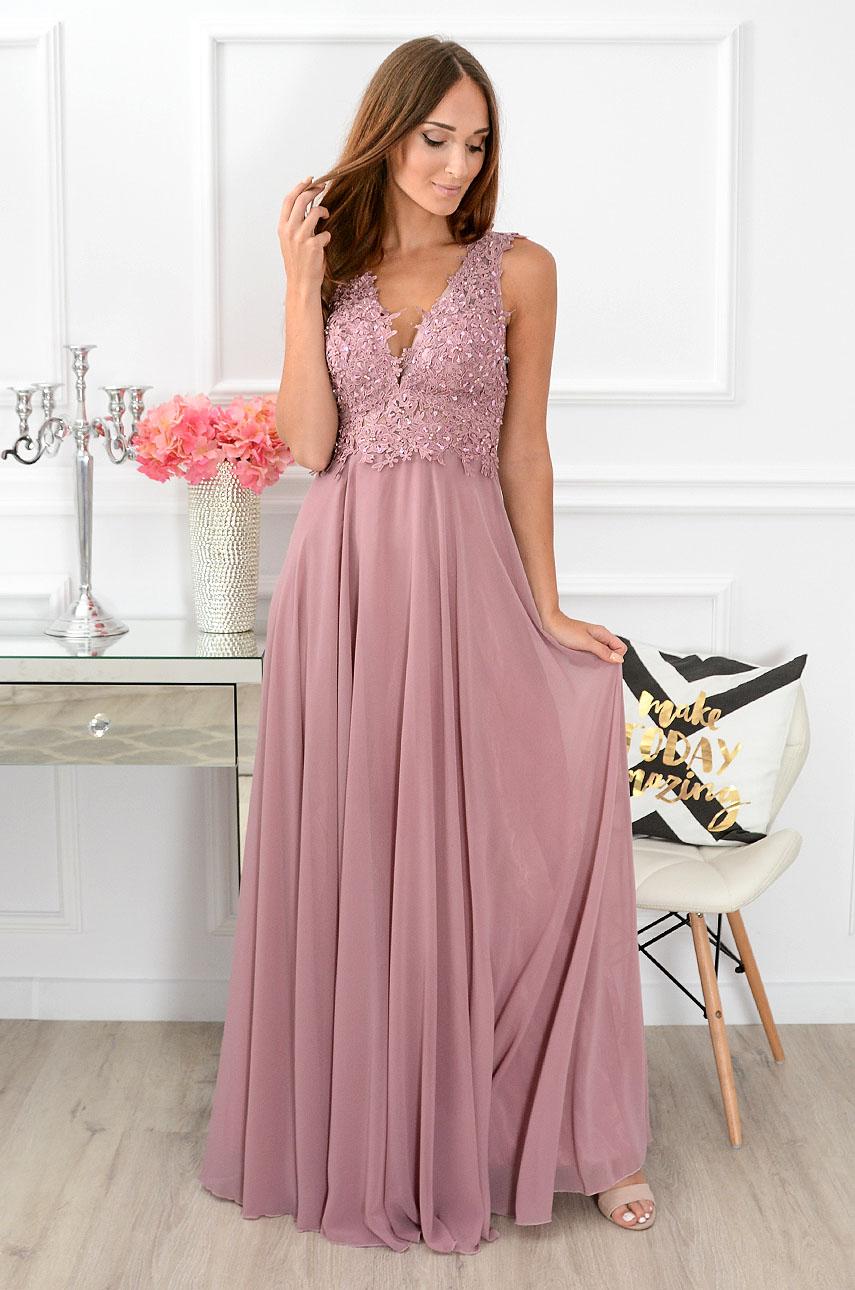 Sukienka maxi Castelia z gipiurą brudny róż Rozmiar: S