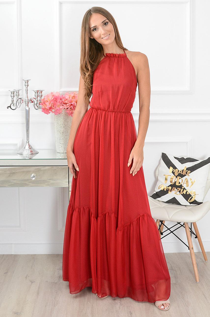 Sukienka maxi wiązana na szyi bordo Calabria Rozmiar: XS