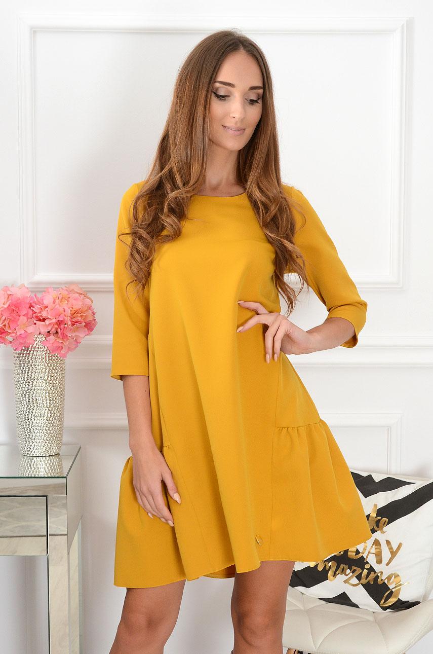 Sukienka oversize z falbaną Glory musztardowa Rozmiar: M