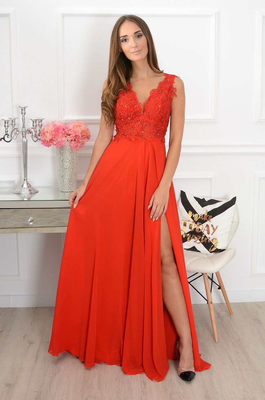 Sukienka maxi z gipiurą Iberia czerwona Rozmiar: L