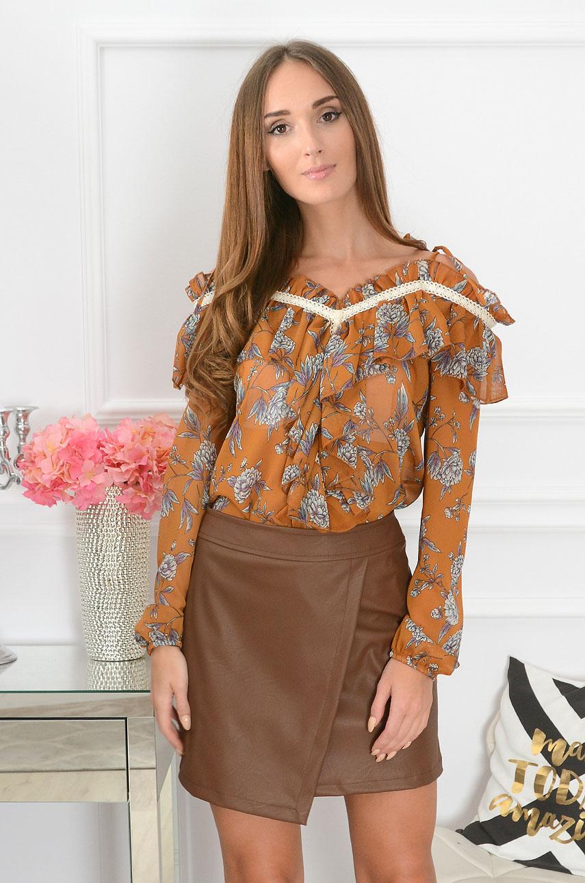 Bluzka boho z falbanami Bloss w kwiaty kamel Rozmiar: UNI