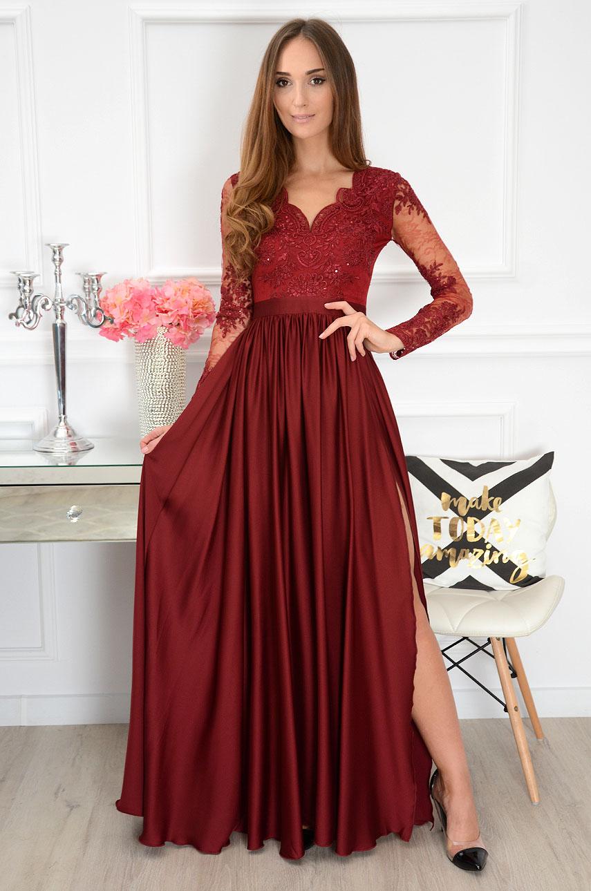 Sukienka maxi długi rękaw Athena burgund new