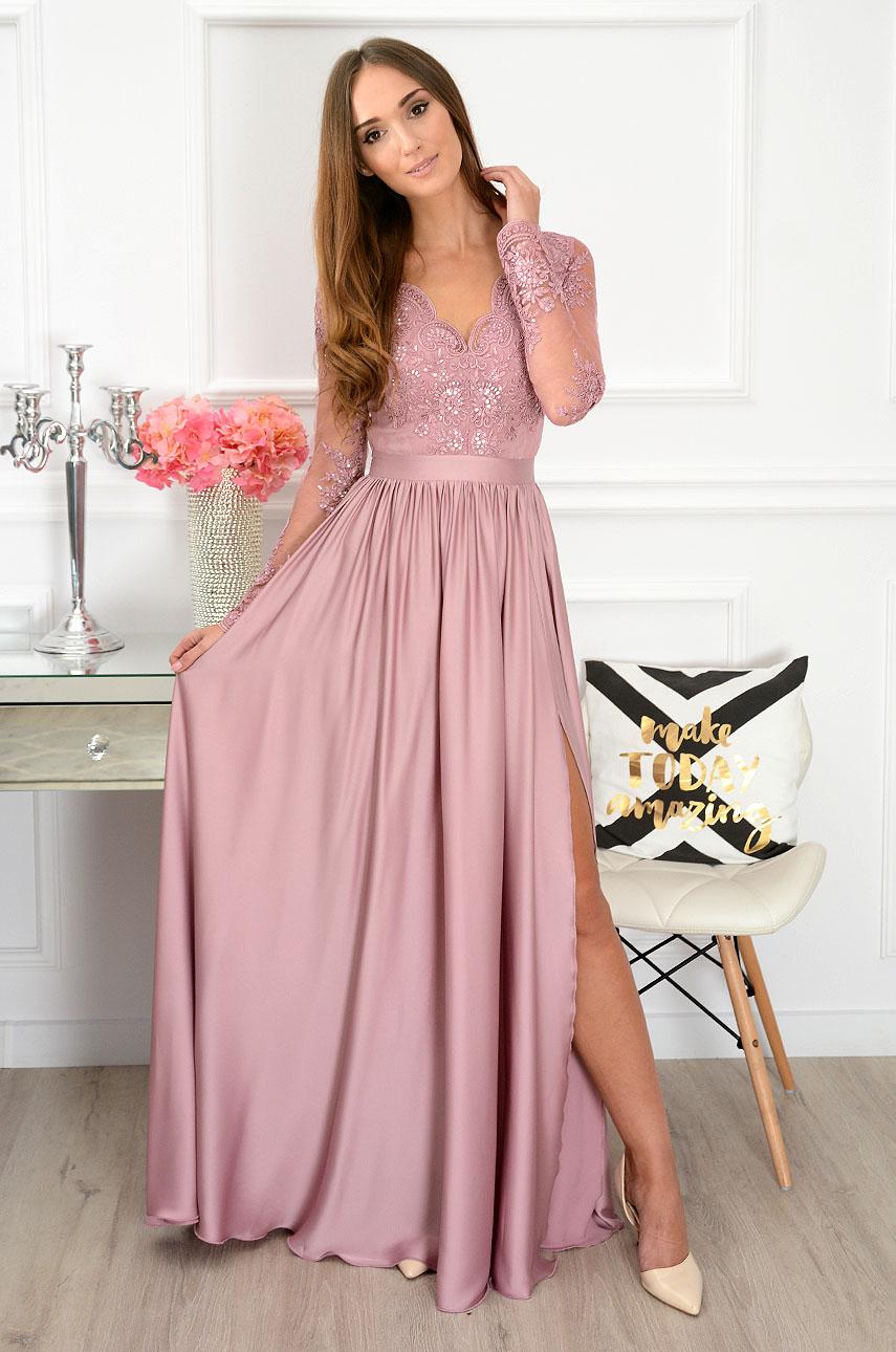 Sukienka maxi Athena długi rękaw brudny róż new