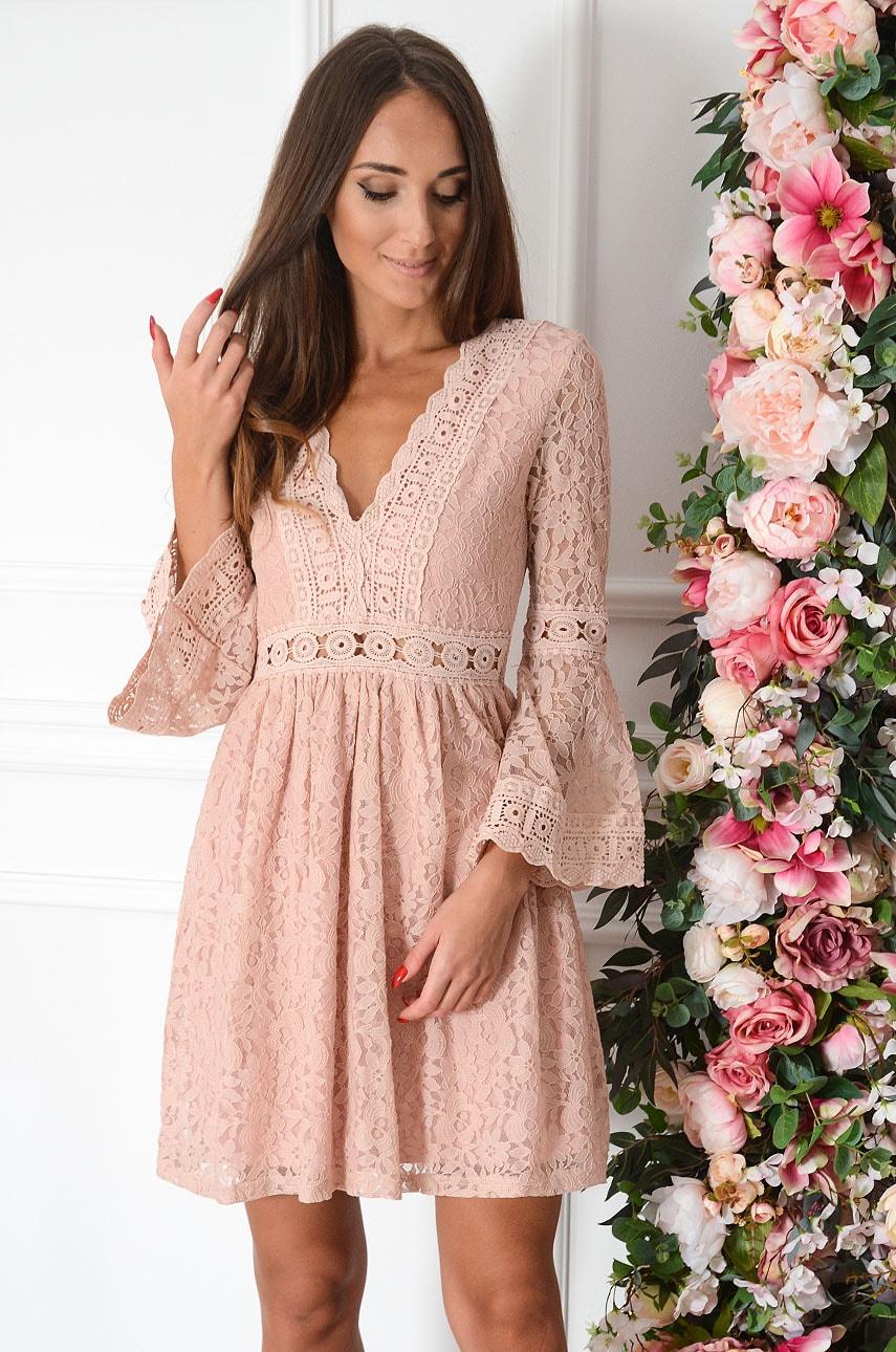 Sukienka koronkowa boho Malta pudrowy róż Rozmiar: S/M