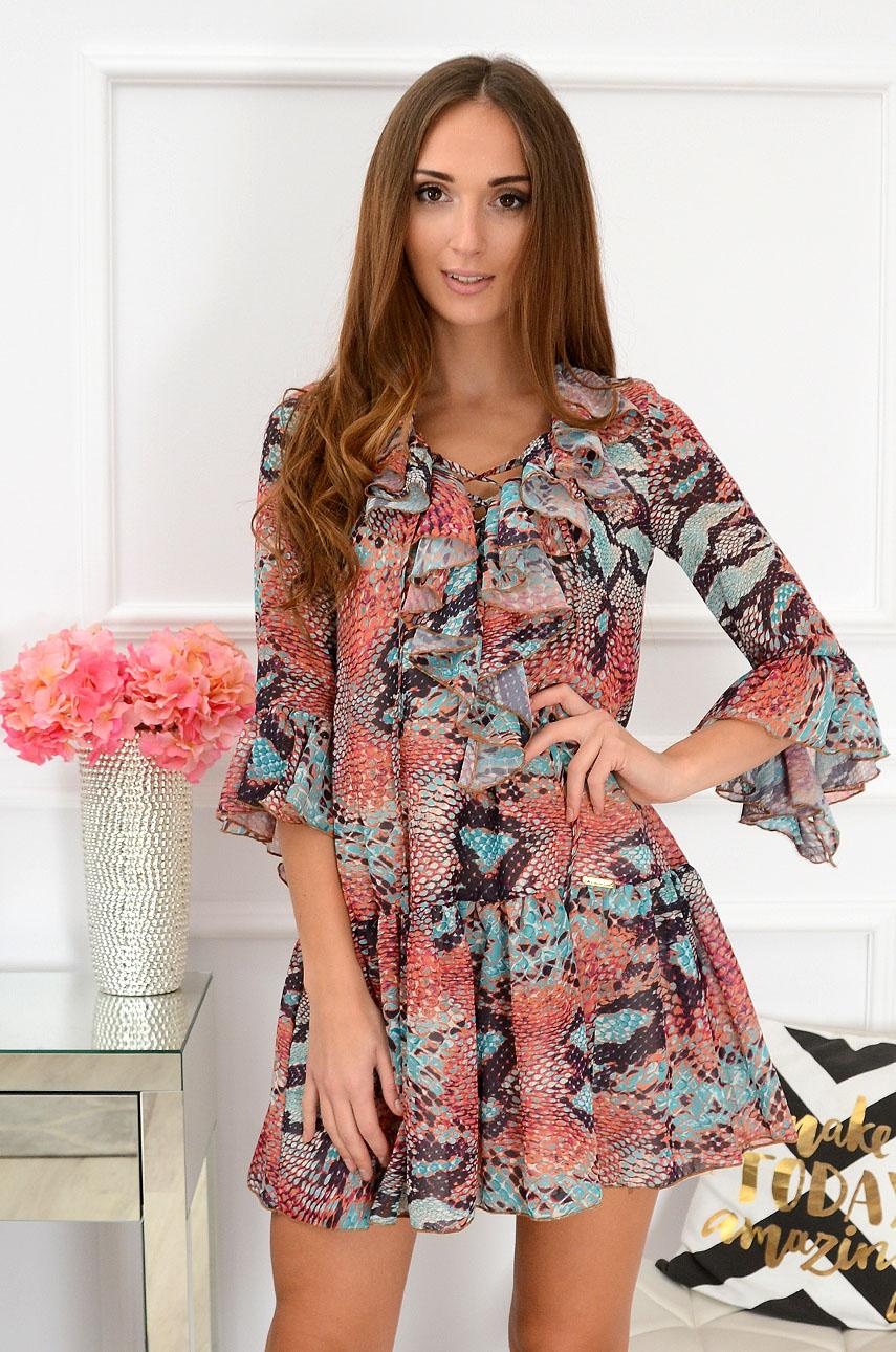 Sukienka szyfonowa Florida wężowa multikolor Rozmiar: S