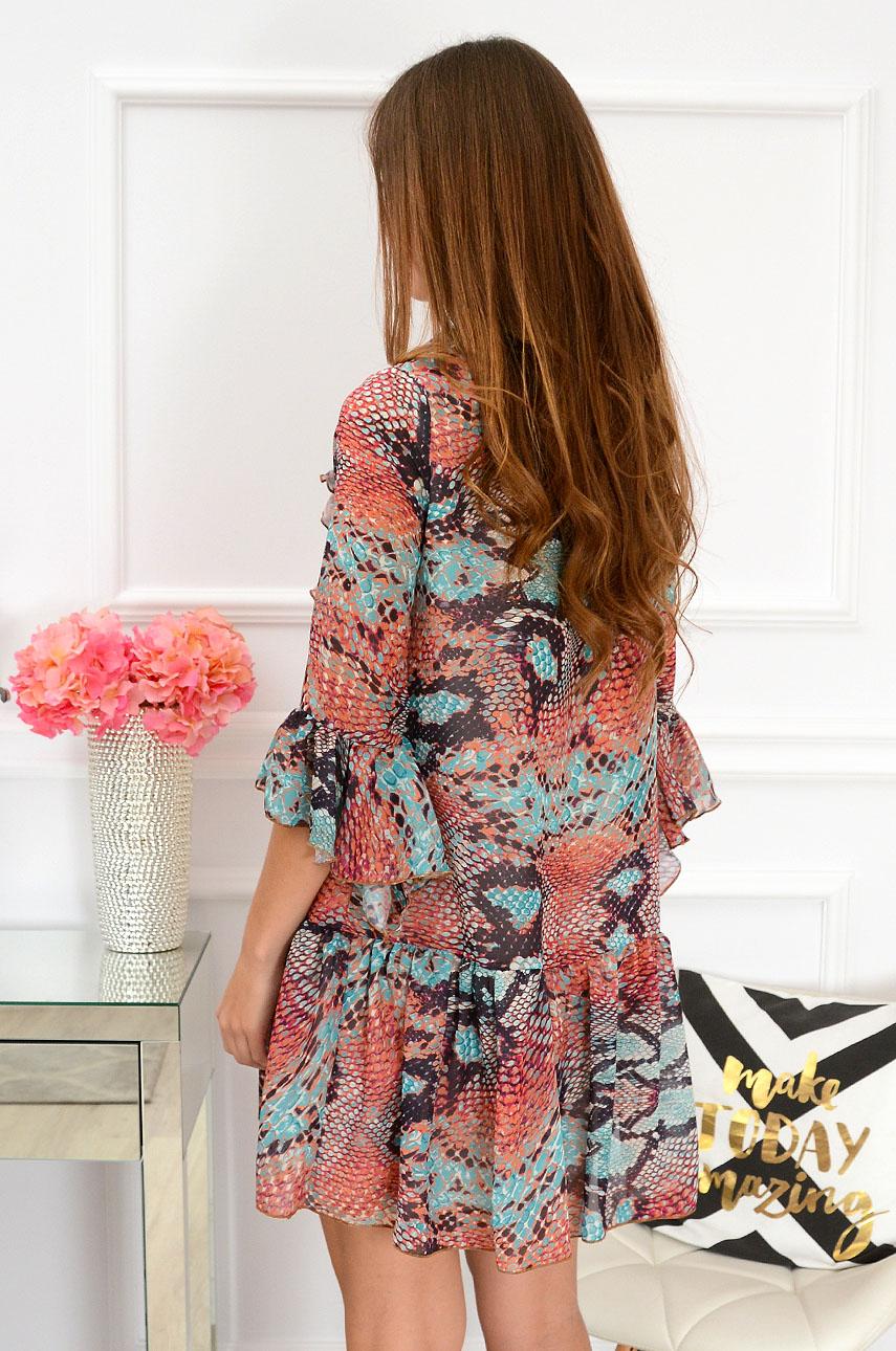 866552fead Sukienka szyfonowa wężowa multikolor Sklep internetowy cocomo...