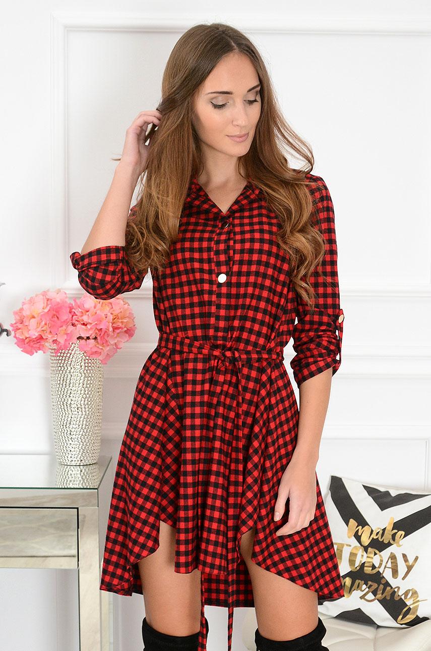 7406fc0ec8 Unikalna sukienka asymetryczna w kratkę Fluf czerwona - Cocom...