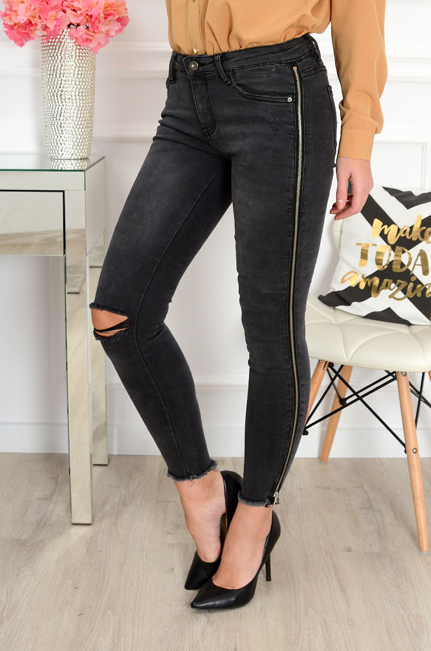 b83f13cd33de Spodnie jeans z zipami i pęknięciem grafit Sklep cocomoda.pl
