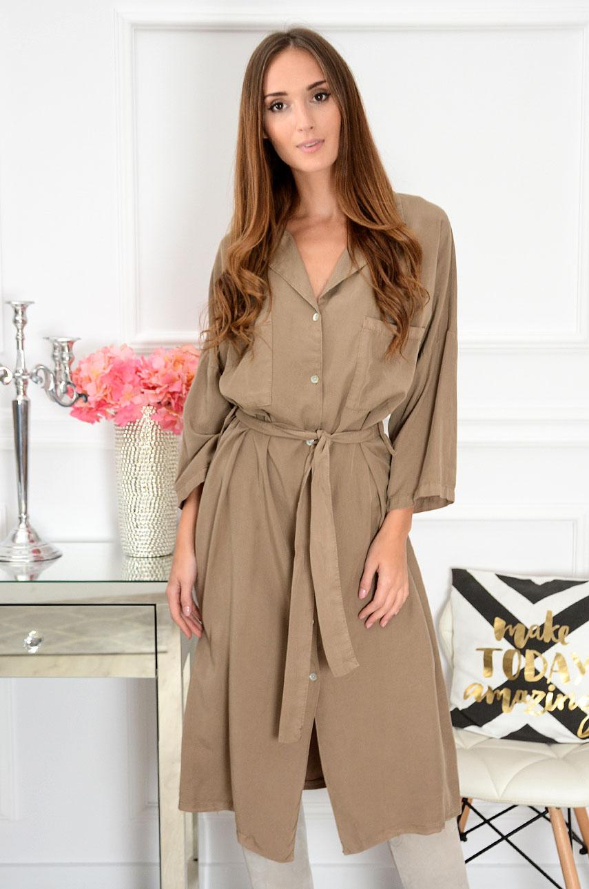 Sukienka koszulowa midi z paskiem Zuo beżowa Rozmiar: UNI
