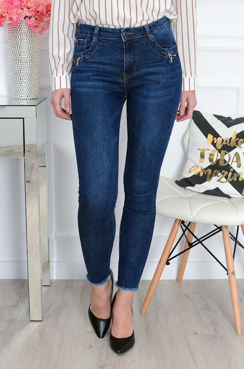 Spodnie jeans push up postrzępione Rozmiar: S