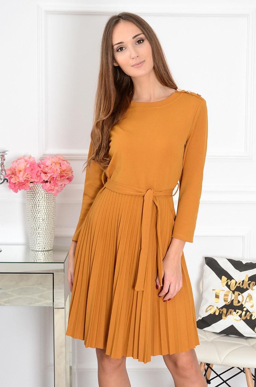 647b12fe Sukienka plisowana złote guziki Ellen musztardowa