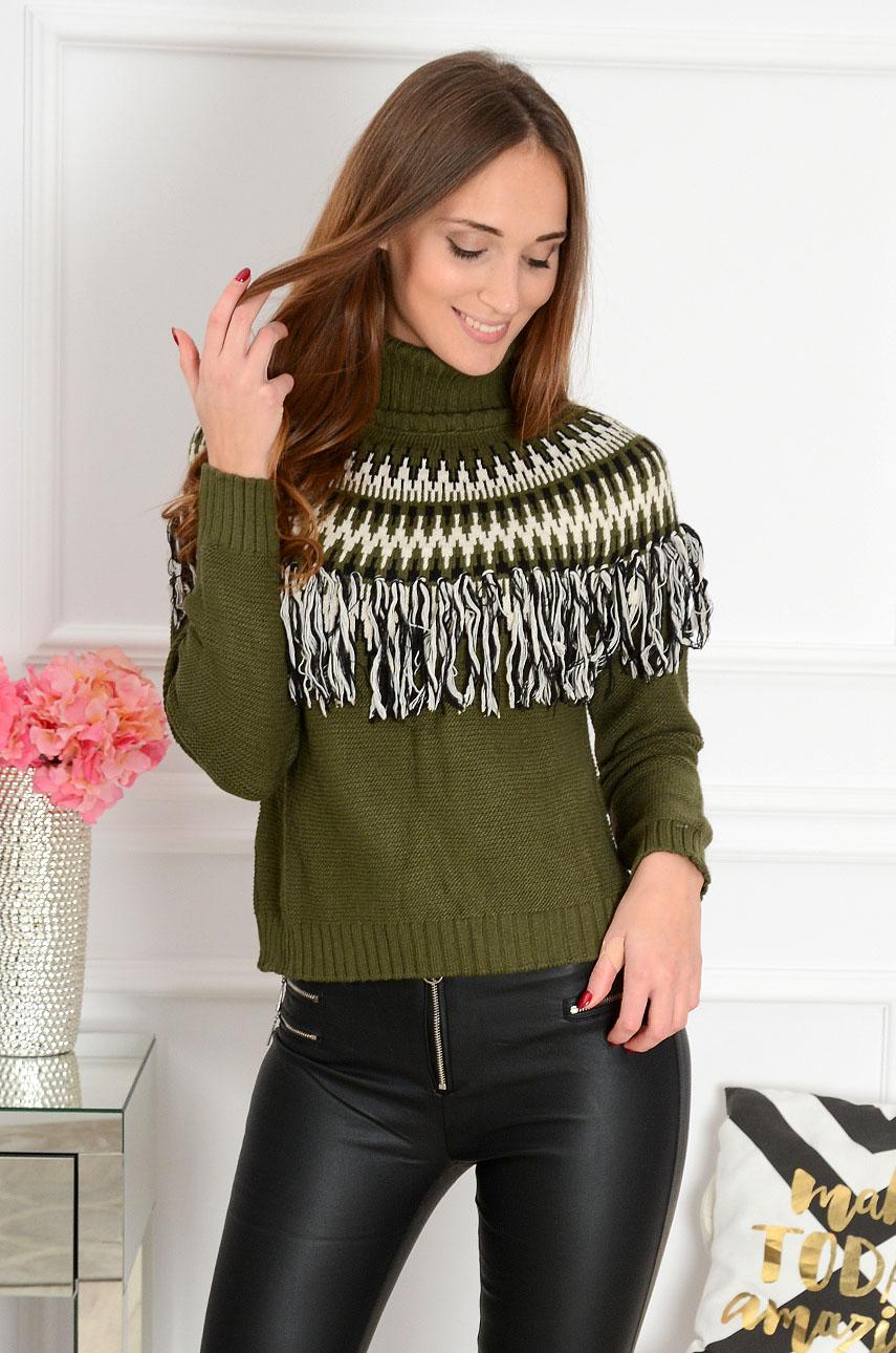 Krótki sweter z frędzlami Indian khaki Rozmiar: UNI