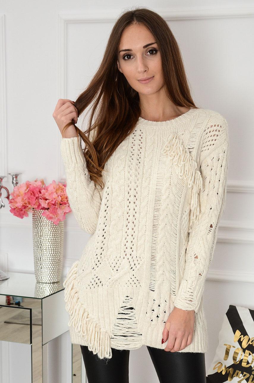 Sweter z dziurami i frędzlami Zoel beżowy Rozmiar: UNI