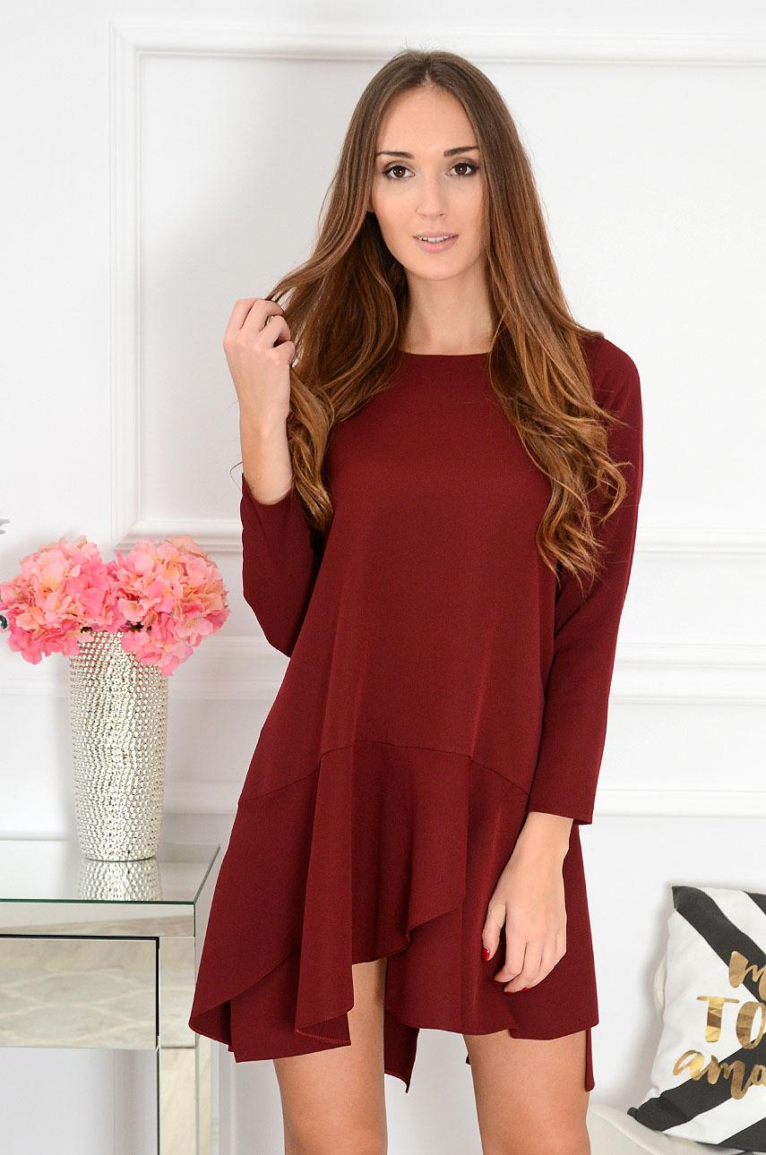 Sukienka oversize z falbanami Delice burgund Rozmiar: S