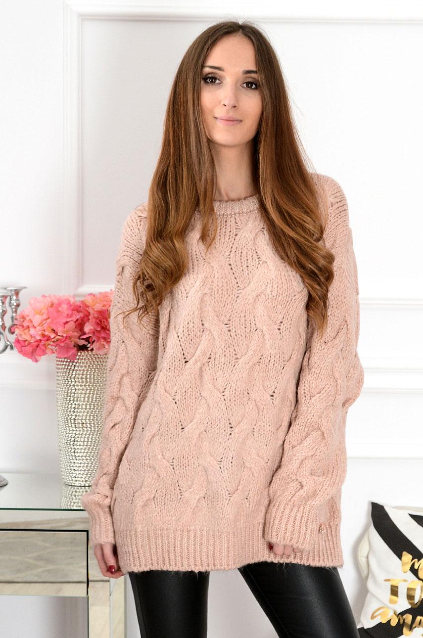Sweter oversize w warkocze Aspen pudrowy róż Rozmiar: UNI