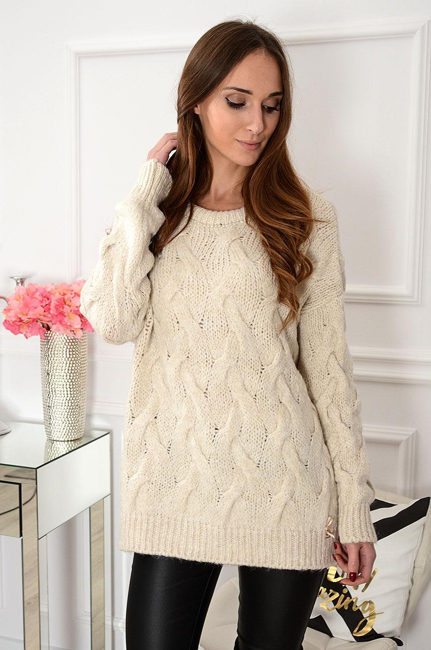 Sweter oversize w warkocze Aspen beżowy Rozmiar: UNI