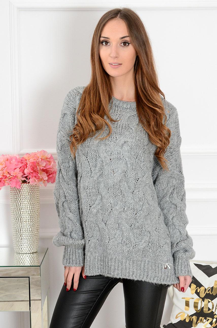 Sweter oversize w warkocze Aspen szary Rozmiar: UNI