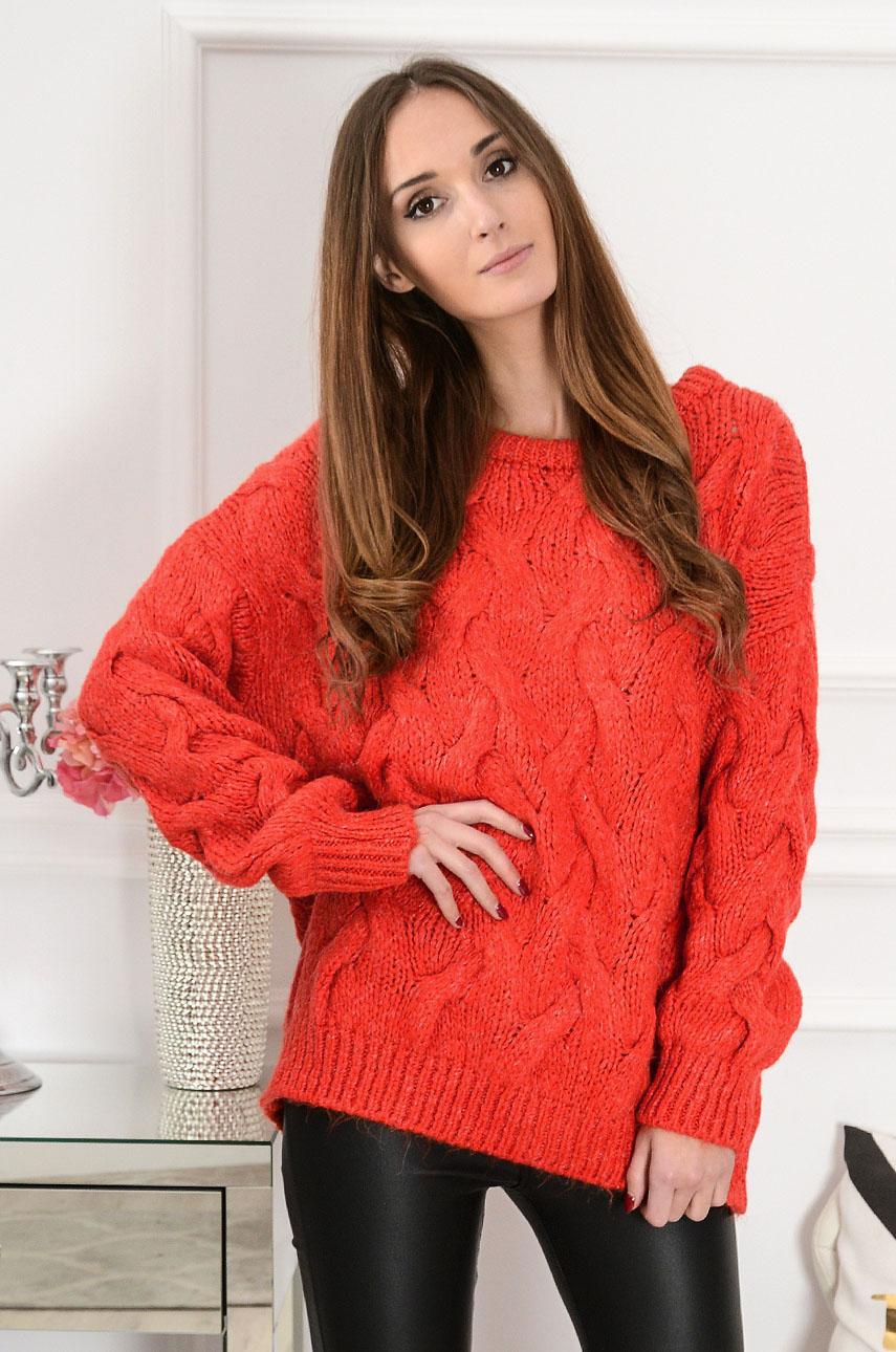 Sweter oversize w warkocze Aspen czerwień orange Rozmiar: UNI