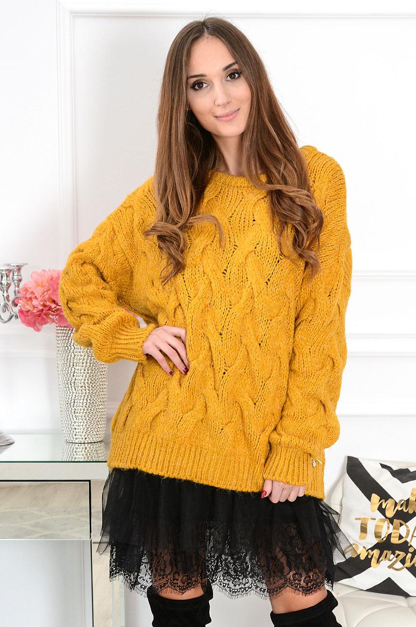 Sweter oversize w warkocze Aspen musztadrowy Rozmiar: UNI