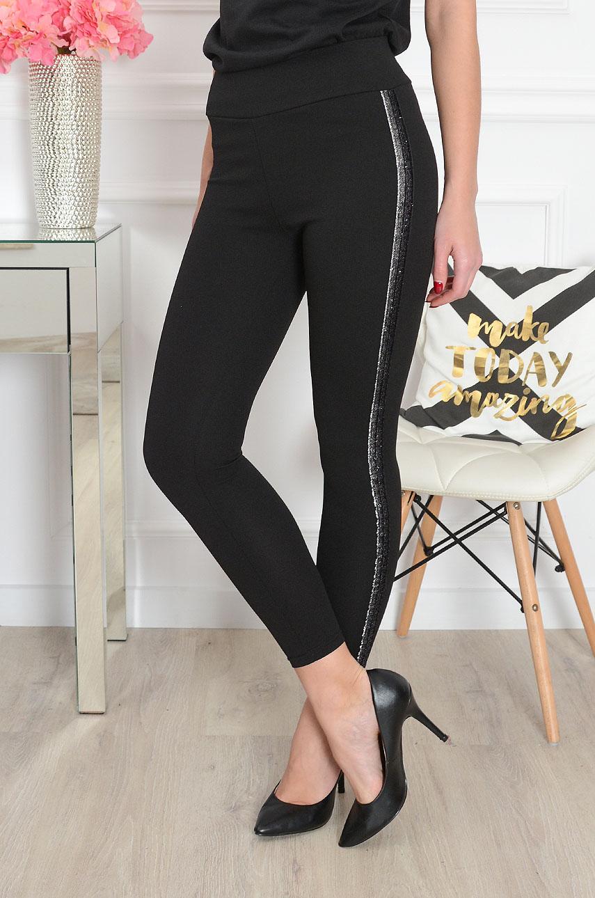 Spodnie legginsy ze srebrnym lampasem czarne