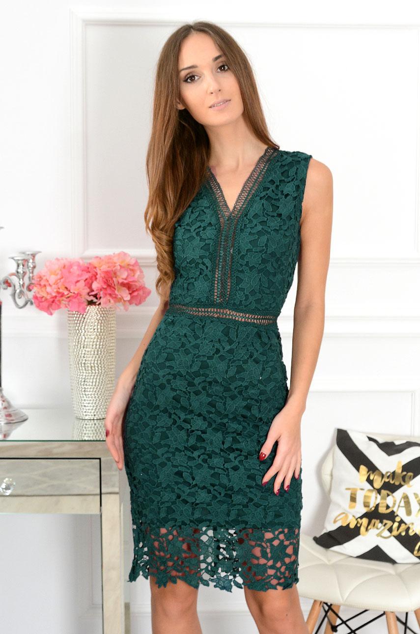 Sukienka z gipiury Alice ciemna zieleń Rozmiar: L