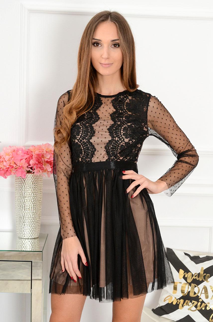 Sukienka z koronki i tiulu Nixie czarno-beżowa długi rękaw Rozmiar: M